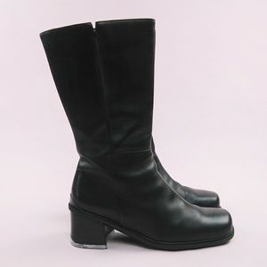 afb2b36aa4fa Ecco Mid Calf Leather Block Heel Boots 5 UK 7 US